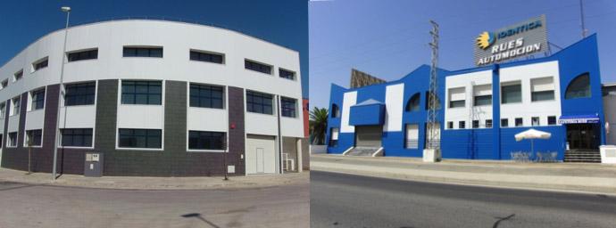 Foto combinada de dos obras de fachadas de panel sandwich